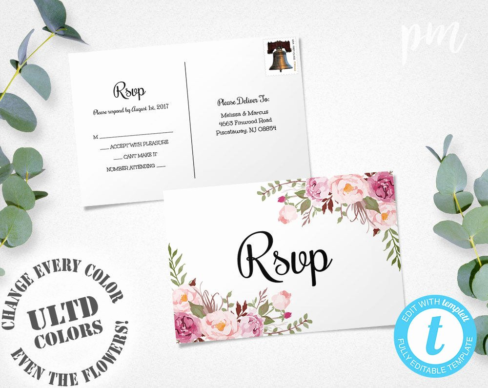 Rsvp Postcard Template Free Lovely Floral Rsvp Postcard Template Wedding Rsvp Response Card