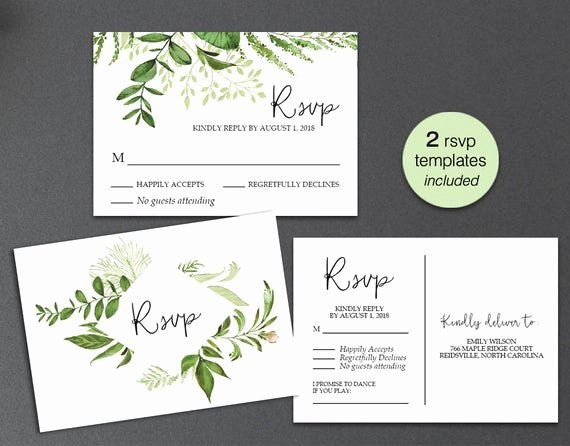 Rsvp Postcard Template Free New Rsvp Card Rsvp Postcard Rsvp Template Greenery Wedding Rsvp