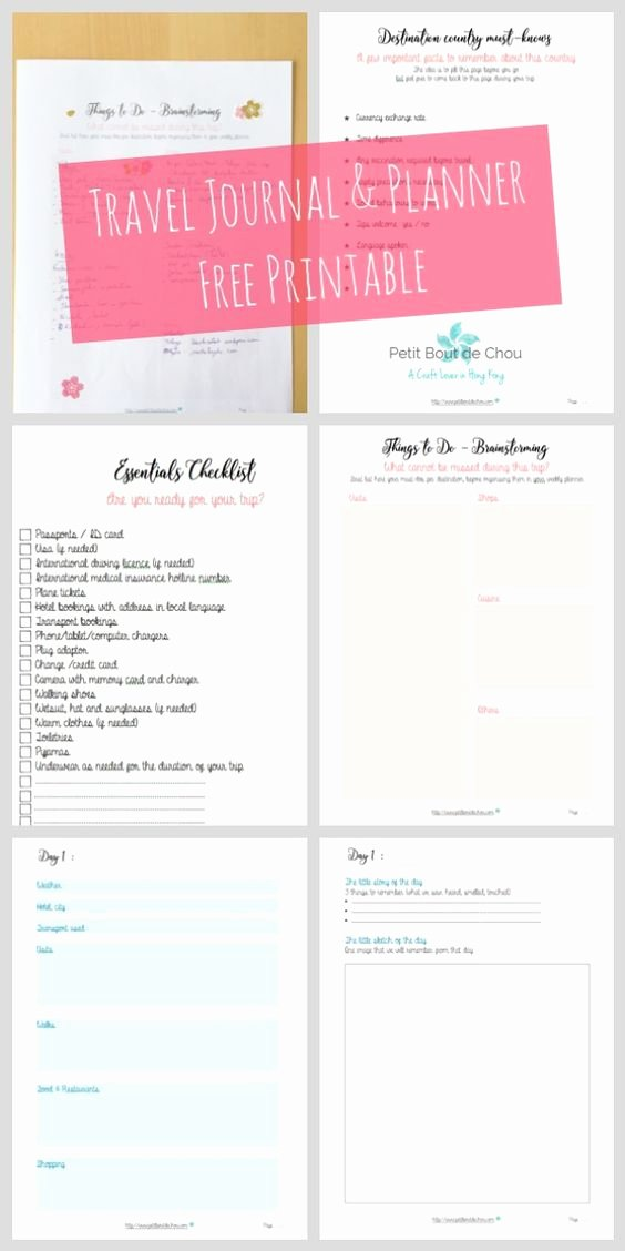Rv Journal Template Lovely An Awesome Free Travel Journal and Planner Printable with
