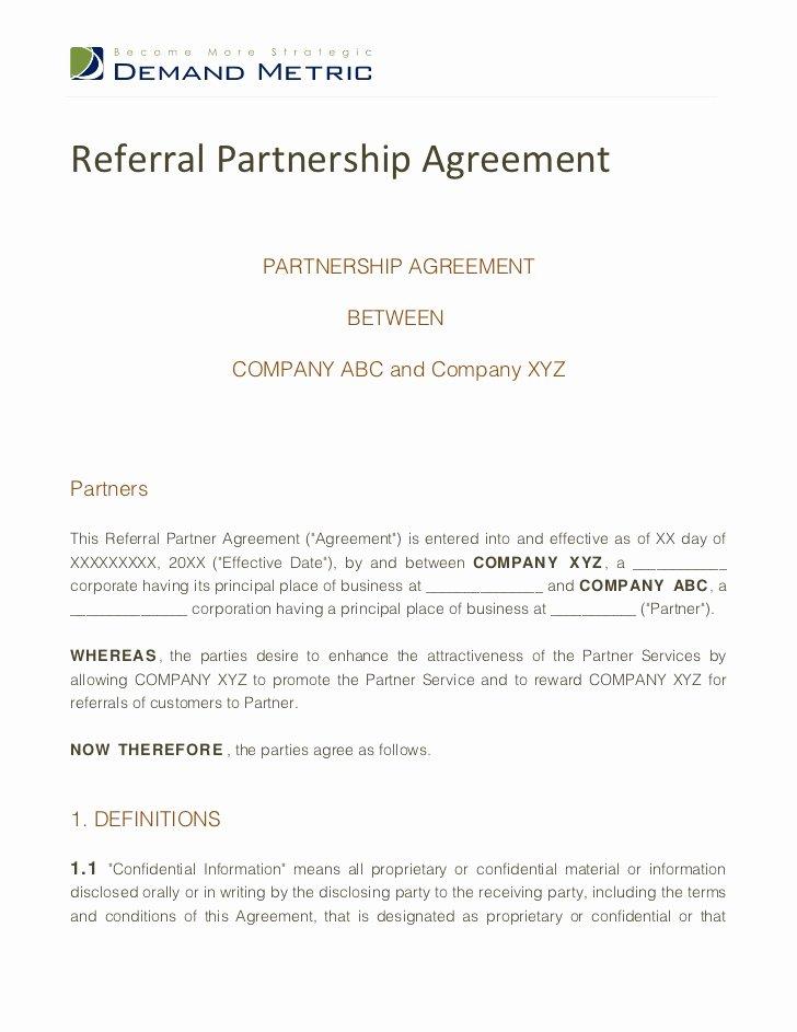 Saas Reseller Agreement Template Beautiful Referral Partnership Agreement