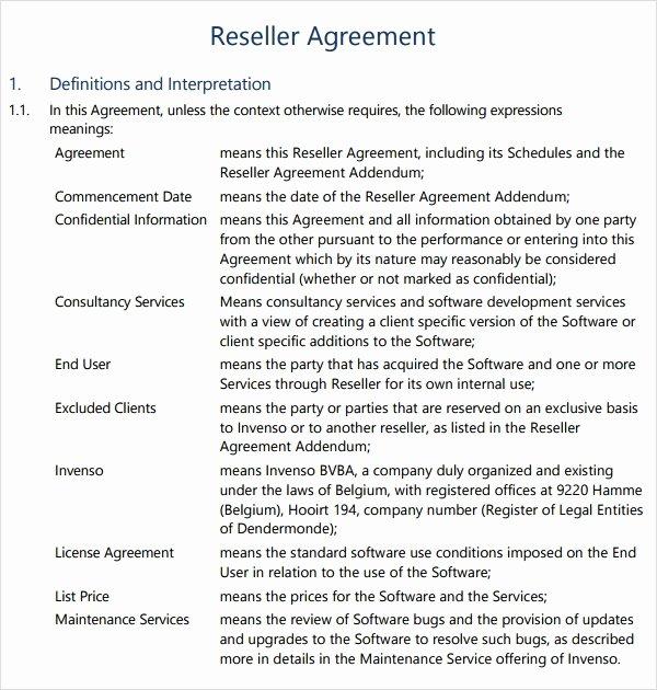 Saas Reseller Agreement Template Best Of 8 Sample Free Reseller Agreement Templates to Download