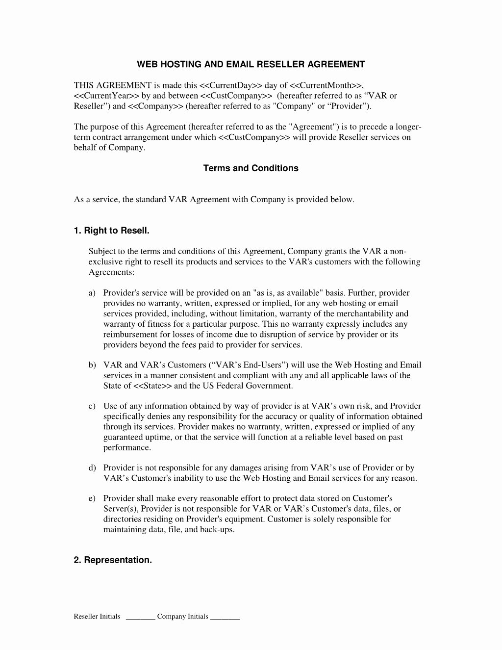 Saas Reseller Agreement Template Best Of Simple Web Hosting Agreement