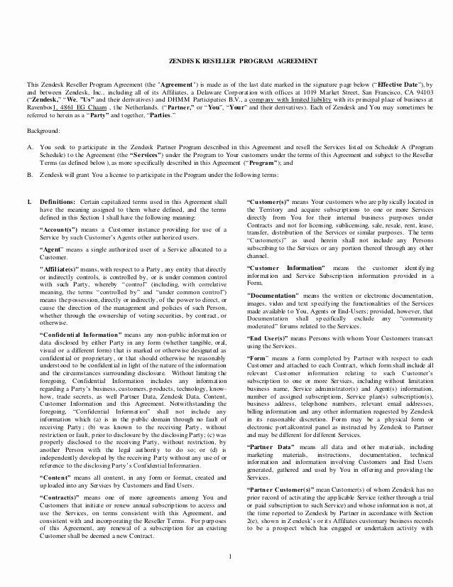 Saas Reseller Agreement Template Luxury Zendesk Reseller Agreement Worldwide Template Dec 1 14[3]