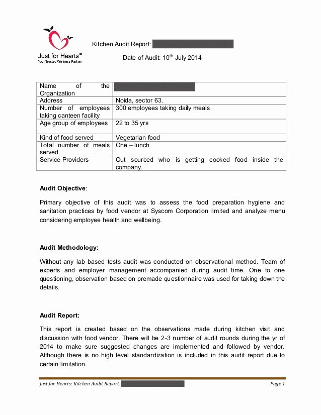 Safety Audit Report Sample Awesome Just for Hearts Kitchen Audit Report Sample Draft