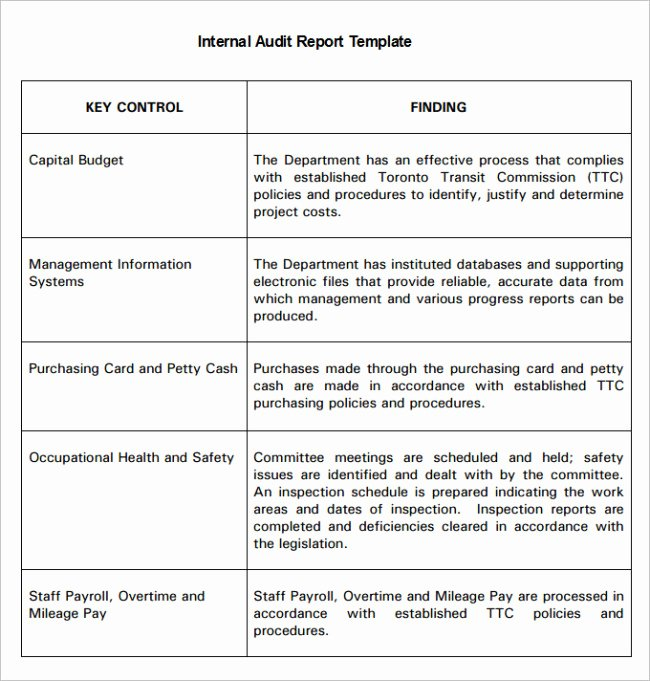 Safety Audit Report Sample Lovely Inspiring Internal Audit Report Template with Table format