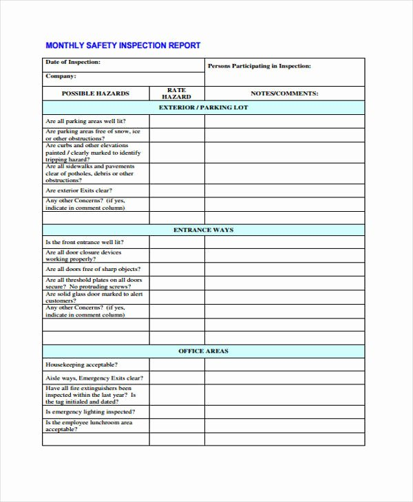 Safety Audit Report Sample Luxury 44 Monthly Report Samples Word Docs