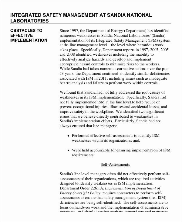 Safety Audit Report Sample Unique 11 Safety Audit Report Templates – Pdf Word