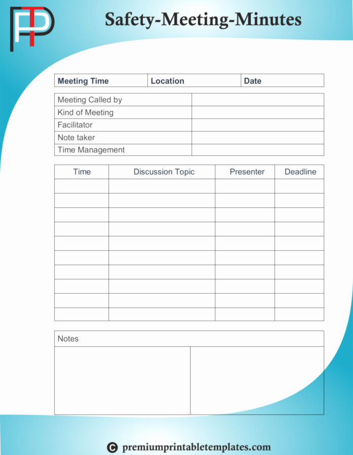 Safety Meeting Minutes Template Awesome Safety Minutes Of Meetings Templates – Premium Printable