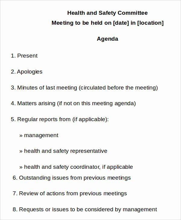 Safety Meeting Minutes Template Fresh 10 Safety Agenda Templates Free Sample Example format