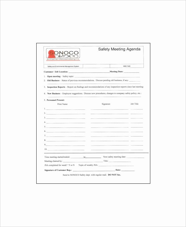 Safety Meeting Minutes Template Inspirational 12 Safety Meeting Agenda Templates – Free Sample Example