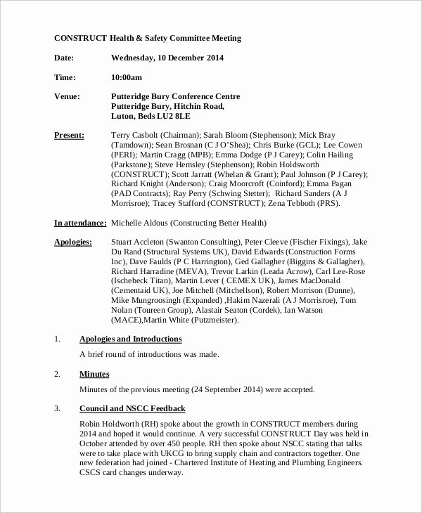 Safety Meeting Minutes Template Inspirational Safety Meeting Minutes Template 7 Free Word Pdf