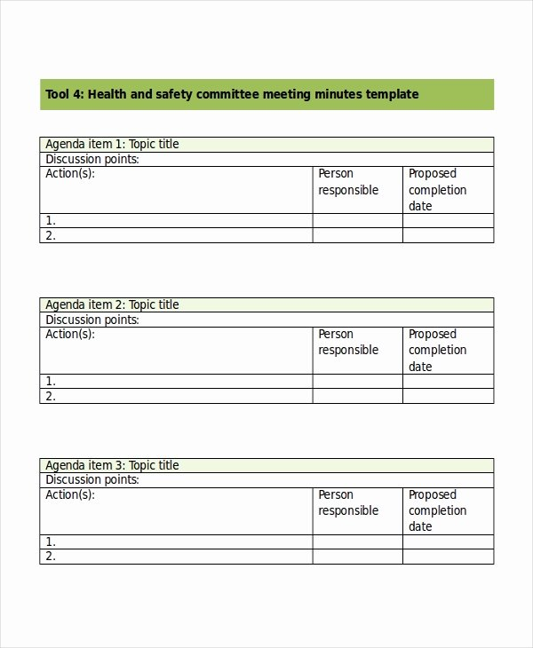 Safety Meeting Minutes Template Luxury Safety Meeting Minutes Template 7 Free Word Pdf