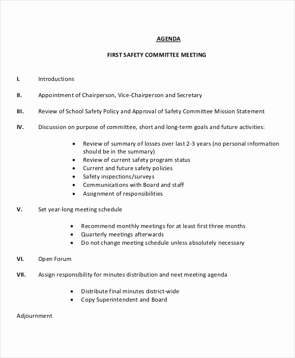 Safety Meeting Minutes Template New 41 Meeting Agenda Templates