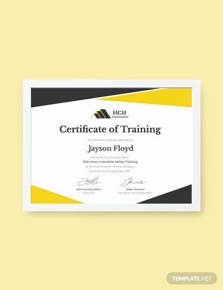 Safety Training Certificate Template Elegant Free Industrial Training Certificate Template Download