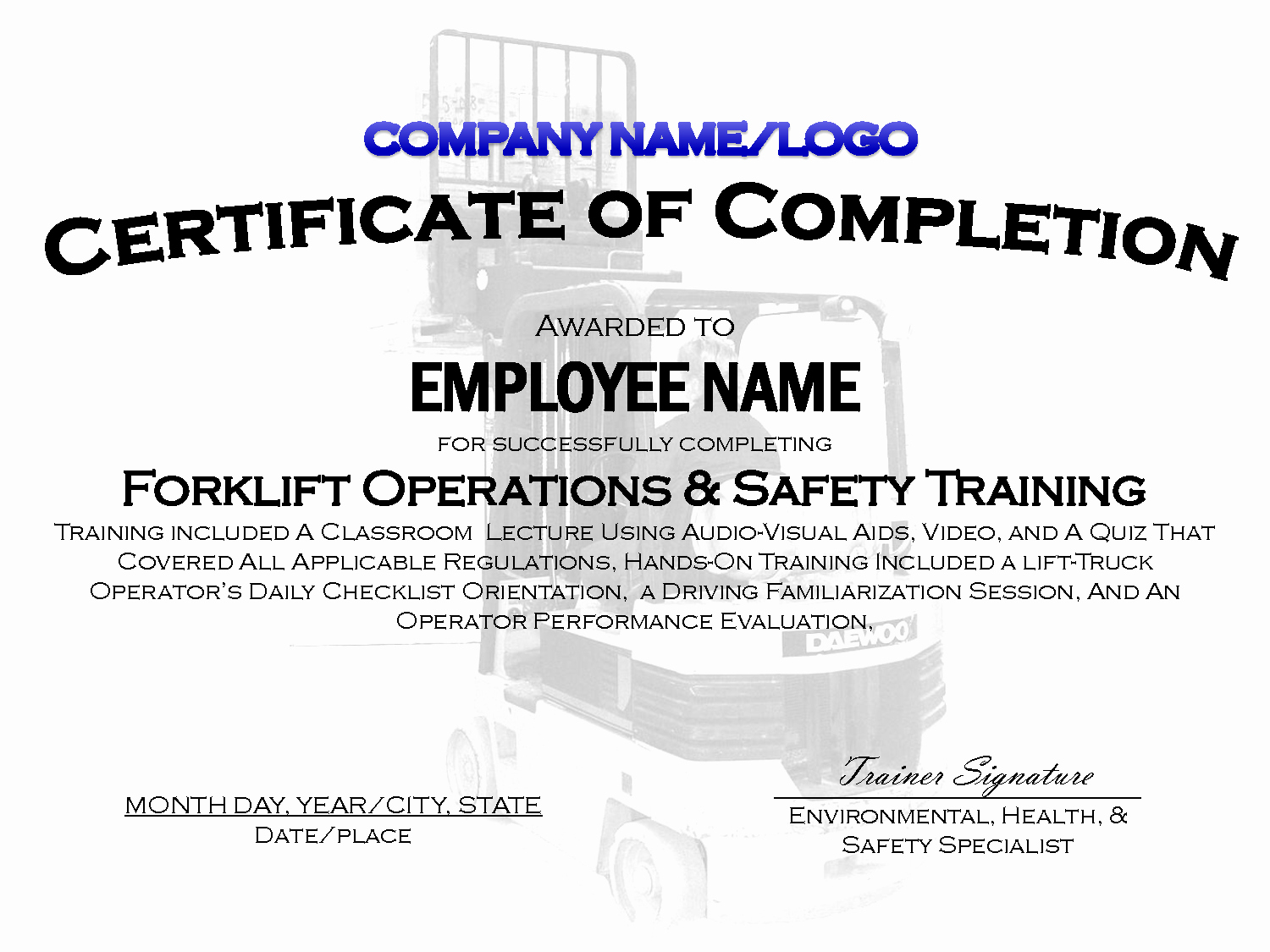 Safety Training Certificate Template Elegant Safety Training Card Templates