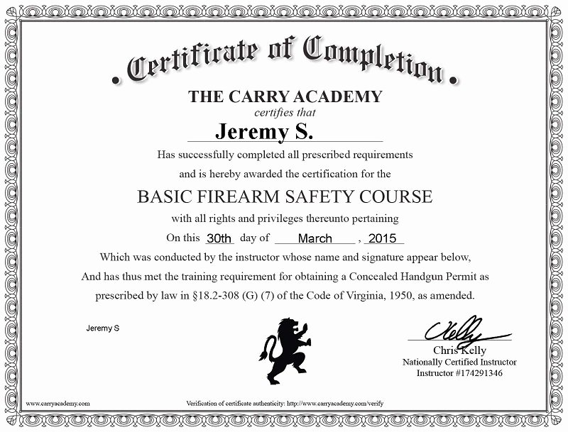 Safety Training Certificate Template Lovely Handgun Safety Certificate Sample Questions Choice Image