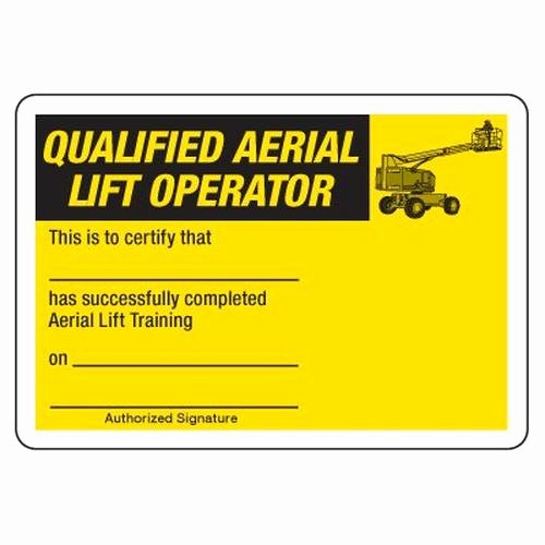 Safety Training Certificate Template New Scissor Lift Certification Card Template
