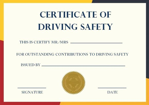 Safety Training Certificate Template Unique Safe Driving Certificate Template 20 Printable