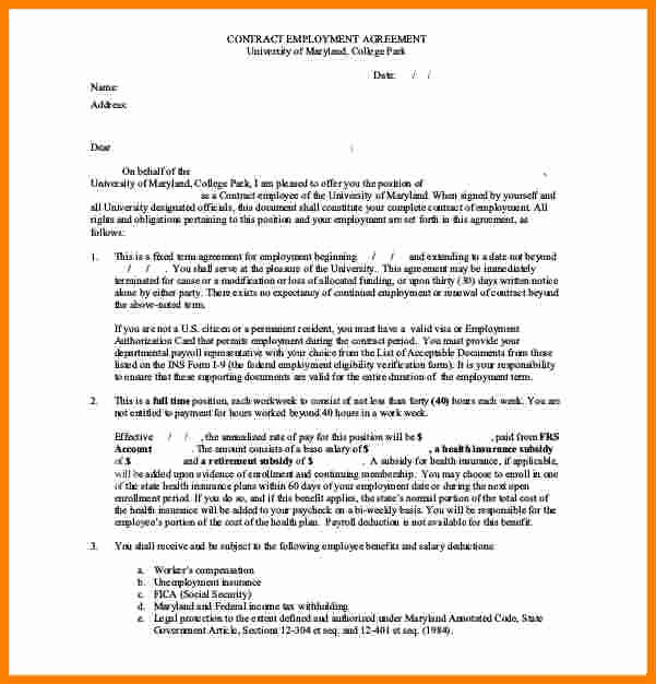 Salary Agreement Letter Beautiful 12 Salary Contract Template