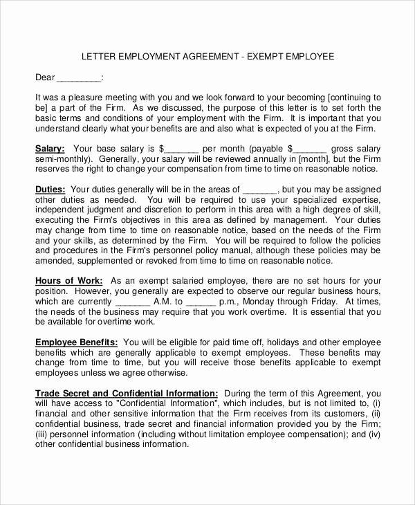 Salary Agreement Letter Elegant 38 Agreement Letter Examples Word Pdf