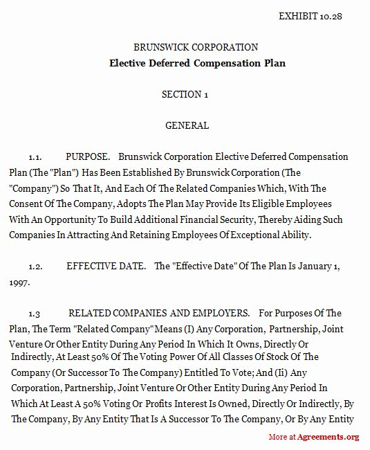 Salary Agreement Letter Elegant Elective Deferred Pensation Plan Agreement Sample