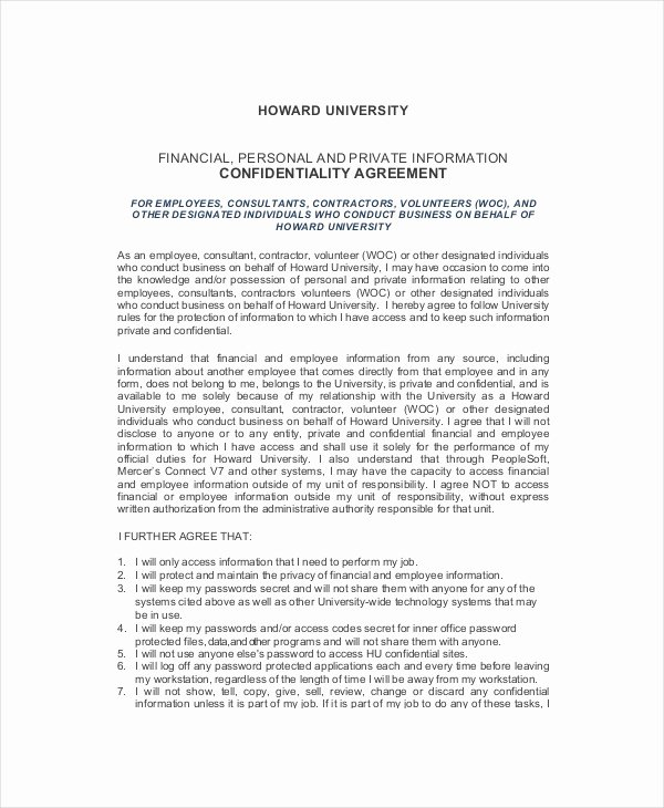 Salary Agreement Letter Lovely 12 Human Resources Confidentiality Agreement Templates