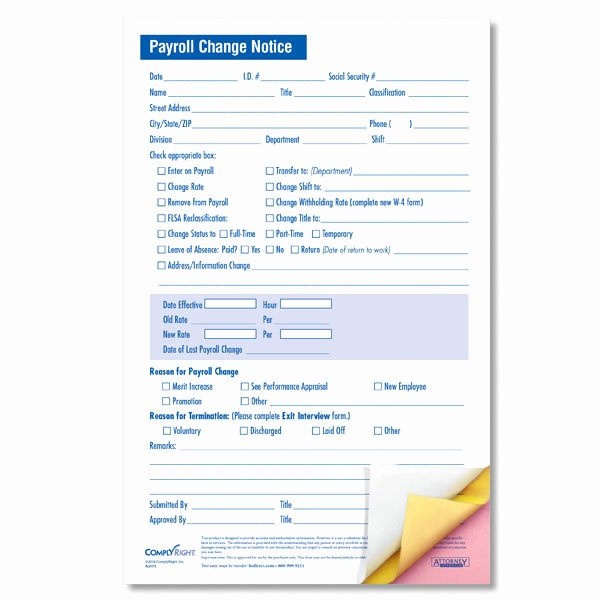 Salary Change form Beautiful Small Size Payroll Change form with Three Carbonless Copies