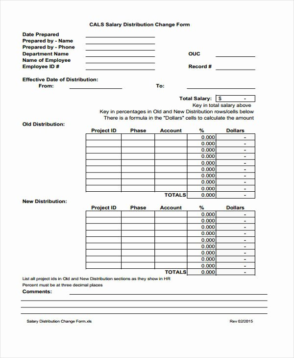 Salary Change form Best Of Sample Change forms