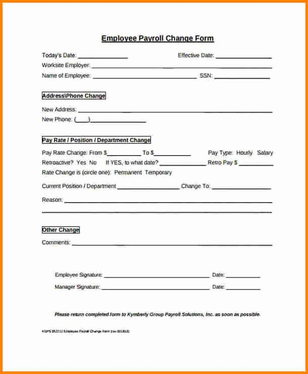 Salary Change form Fresh 7 Payroll Change form Template