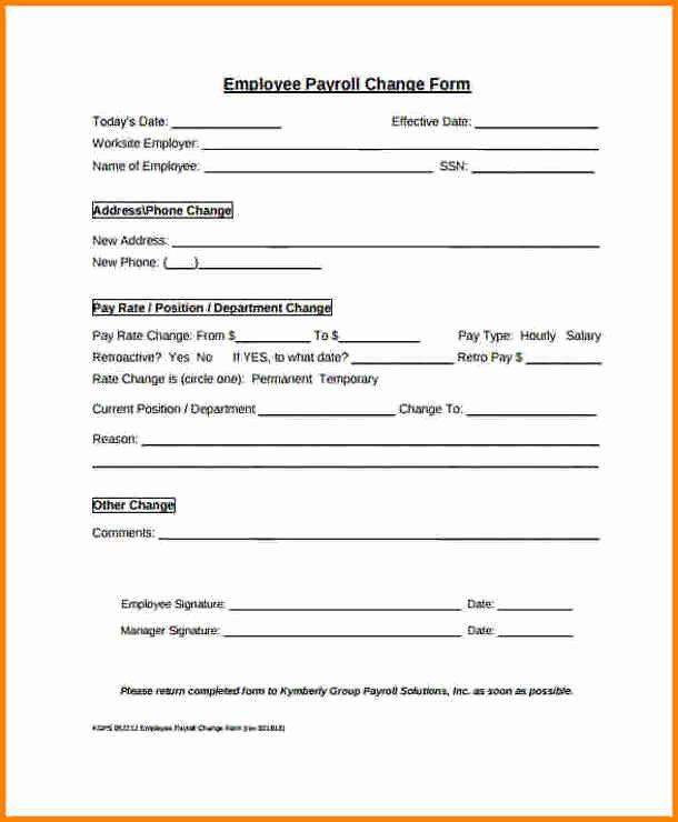 Salary Change form Fresh 7 Payroll Change form Template