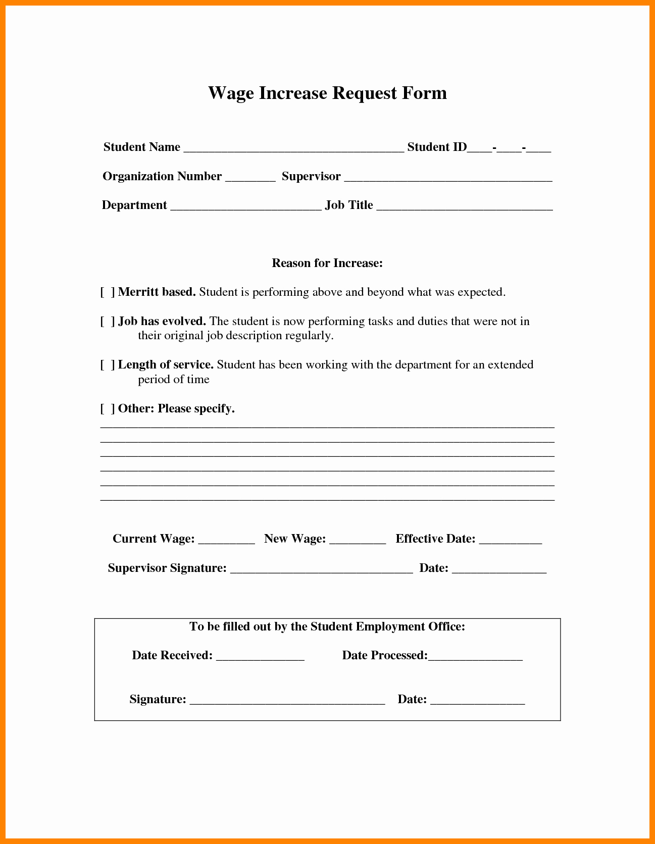 Salary Change form Lovely 7 Salary Change form Template