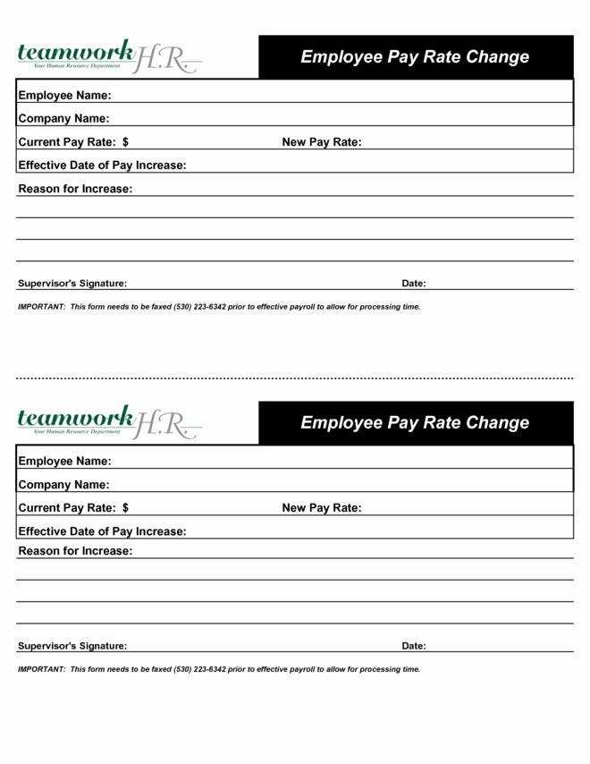 Salary Change form Unique Inspirational Employee Pay Rate Change Increase form
