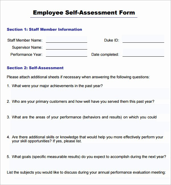 Sales associate Performance Review Examples Inspirational 16 Sample Employee Self Evaluation form Pdf Word Pages