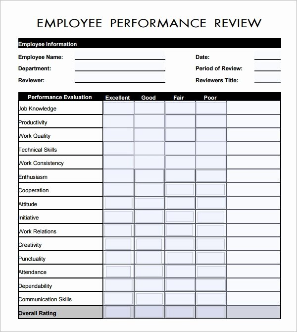 Sales associate Performance Review Examples Luxury 41 Sample Employee Evaluation forms to Download