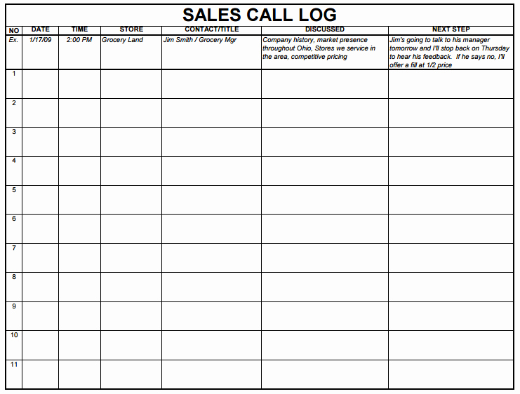 Sales Call Sheet Template Free Best Of 5 Sales Log Templates formats Examples In Word Excel