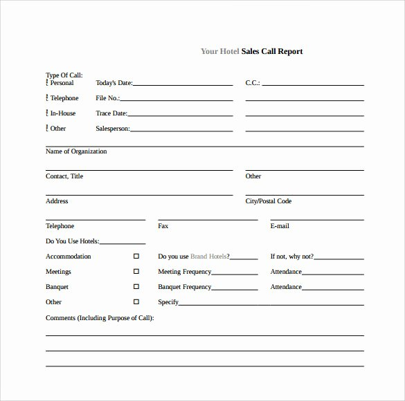 Sales Call Sheet Template Free Elegant Sample Sales Call Report 14 Documents In Pdf Word