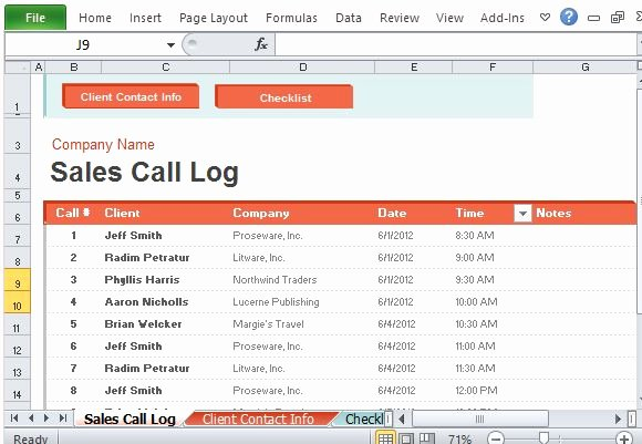 Sales Call Sheet Template Free Inspirational Sales Call Log organizer for Excel