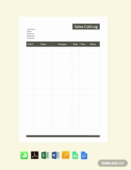 Sales Call Sheet Template Free Lovely Free Simple Call Logs Template Download 483 Sheets In