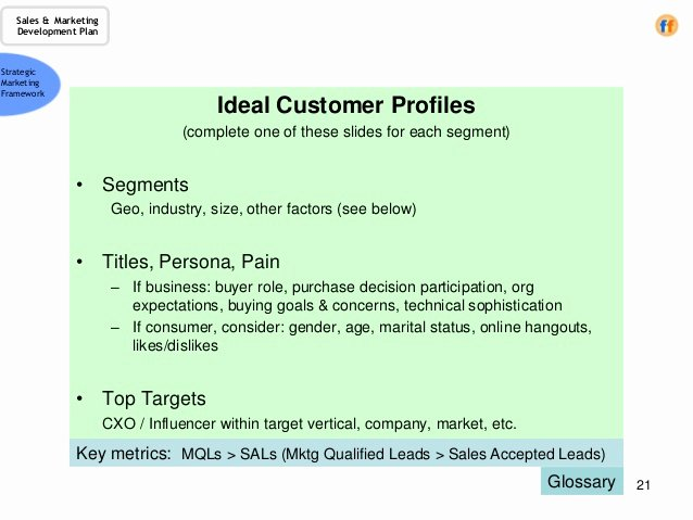 Sales Customer Profile Template Best Of Sales & Marketing Development Plan A Template for the Cro
