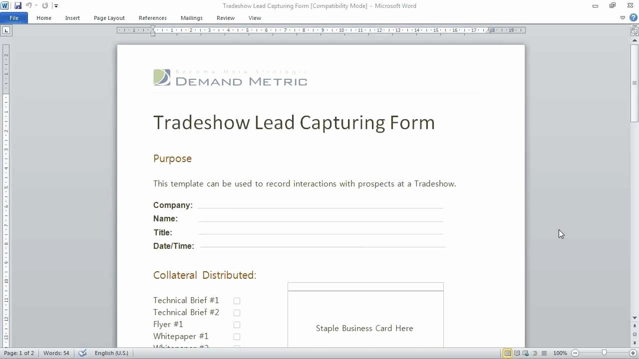 Sales Lead Sheet Template Best Of Trade Show Lead Capturing form
