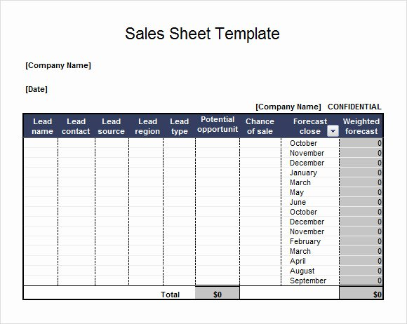 Sales Lead Sheet Template Lovely 7 Sales Sheet Samples