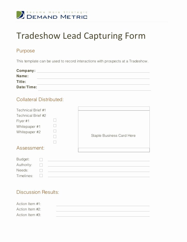 Sales Lead Sheet Template New Tradeshow Lead Capturing form