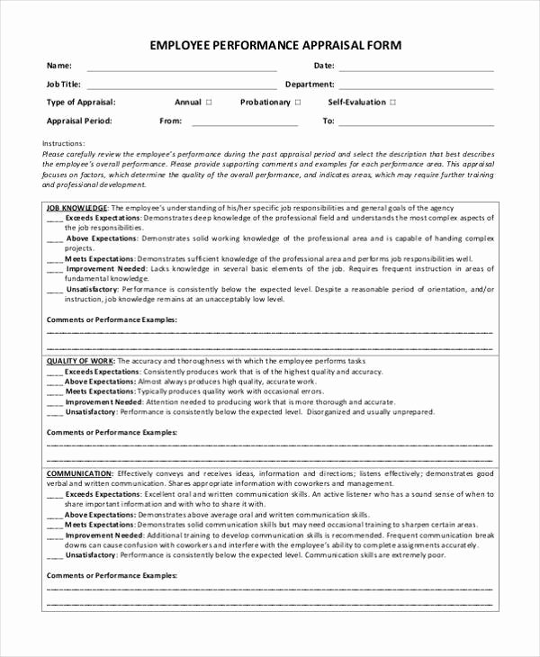 Sales Performance Appraisal form Awesome Sample Appraisal forms In Pdf 27 Free Documents In Pdf
