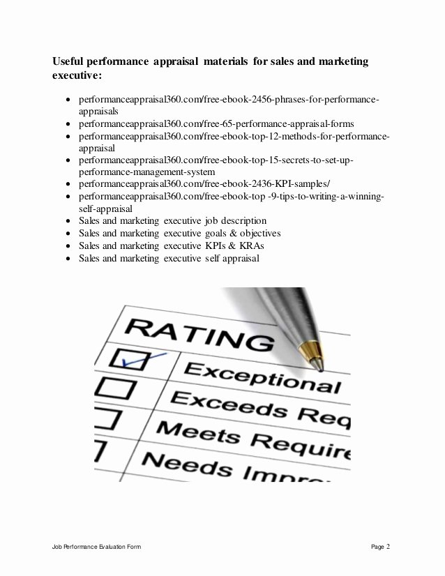 Sales Performance Appraisal form Elegant Sales and Marketing Executive Performance Appraisal