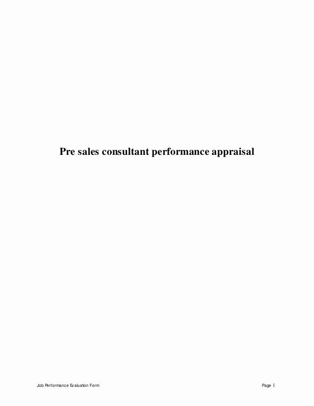 Sales Performance Appraisal form Fresh Pre Sales Consultant Performance Appraisal