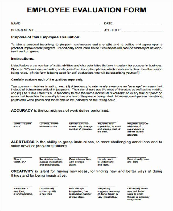 Sales Performance Appraisal form Lovely 17 Employee Evaluation forms