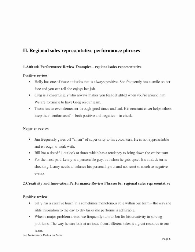 Sales Performance Appraisal form Luxury Regional Sales Representative Performance Appraisal
