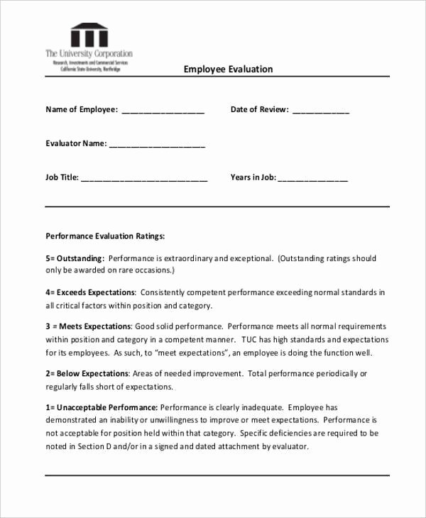 Sales Performance Appraisal form Unique 20 Employee Evaluation form Samples & Templates