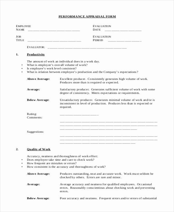 Sales Performance Appraisal form Unique 7 Sample Sales Appraisal forms Free Sample Example format