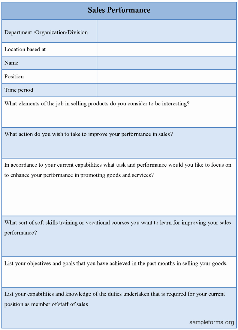 Sales Performance Appraisal form Unique Sales Performance form Sample forms